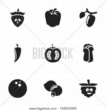 Set Of 9 Editable Cookware Icons. Includes Symbols Such As Bulgarian Bell, Cauliflower, Barberry And More. Can Be Used For Web, Mobile, UI And Infographic Design.