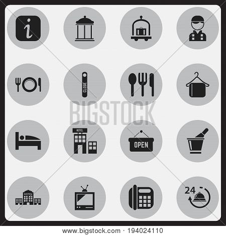 Set Of 16 Editable Motel Icons. Includes Symbols Such As Trolley, Information Sign, Hotel And More. Can Be Used For Web, Mobile, UI And Infographic Design.