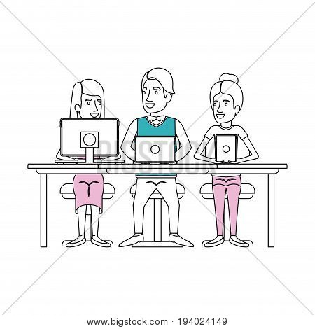 silhouette color sections of group conformed by women and man sitting in desk with tech devices computer business people vector illustration