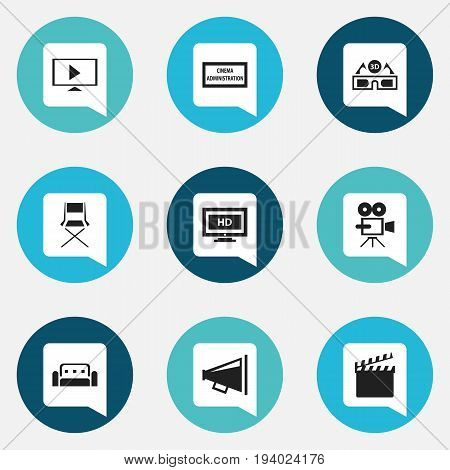 Set Of 9 Editable Cinema Icons. Includes Symbols Such As Record Cam, Couch, Hd Screen And More. Can Be Used For Web, Mobile, UI And Infographic Design.
