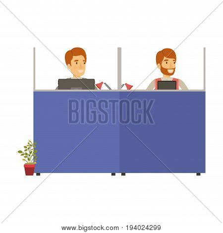 silhouette color cubicles workplace office with pair man employees vector illustration