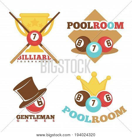 Billiard or pool club and gentleman poolroom logo templates set. Vector flat isolated icons of pool gaming cues and balls with numbers and winner cup for sport team or championship tournament