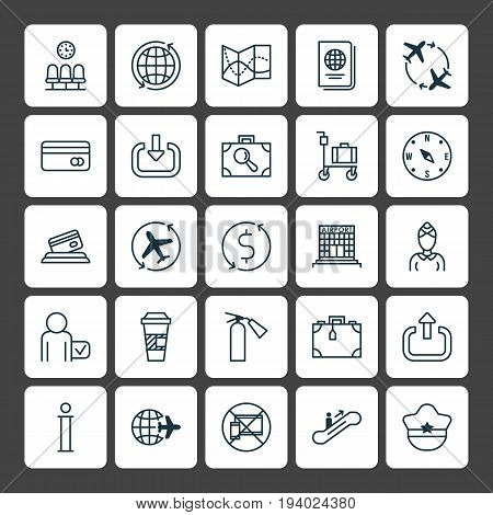 Transportation Icons Set. Collection Of Road Map, Locate, World And Other Elements. Also Includes Symbols Such As Trip, Device, Stewardess.