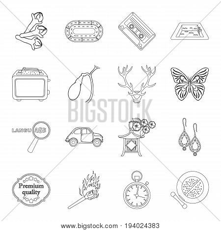 cosmetics, travel, cooking and other  icon in outline style.sport, hunting, lighting icons in set collection.