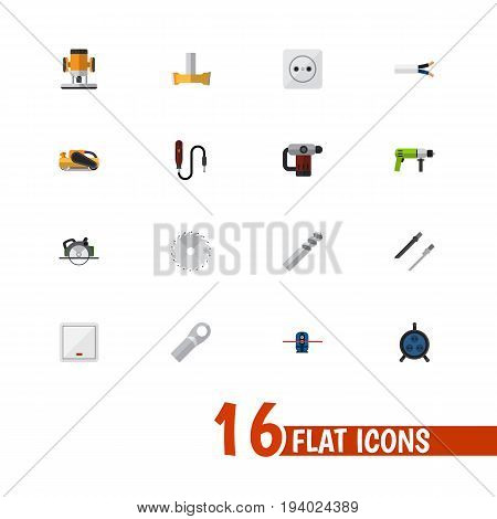Set Of 16 Editable Instruments Icons. Includes Symbols Such As Geodesist, Borer, Switch And More. Can Be Used For Web, Mobile, UI And Infographic Design.