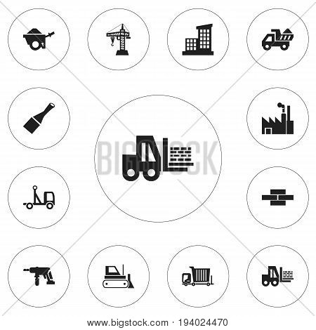 Set Of 12 Editable Construction Icons. Includes Symbols Such As Bogie, Delivery, Camion And More. Can Be Used For Web, Mobile, UI And Infographic Design.