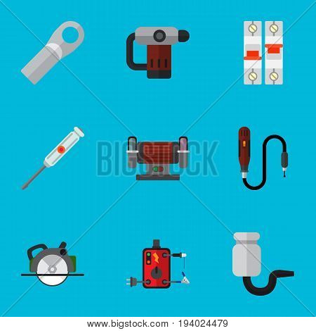 Set Of 9 Editable Electrical Icons. Includes Symbols Such As Breaker, Isolator, Turn-Screw And More. Can Be Used For Web, Mobile, UI And Infographic Design.