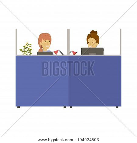 silhouette color cubicles workplace office with young lady and elderly woman employees vector illustration