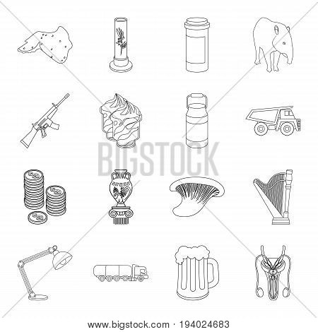 finance, medicine, cooking and other  icon in outline style.lighting, education, medicine icons in set collection.