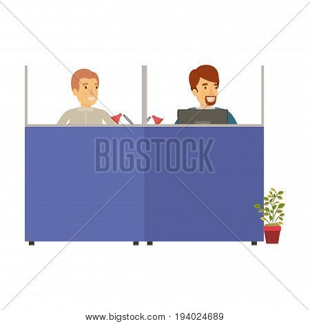 silhouette color cubicles workplace office with male employees vector illustration