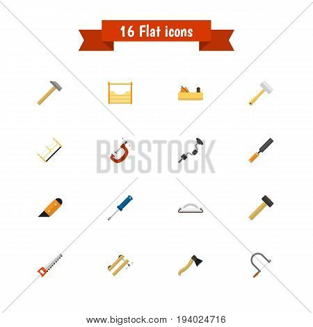 Set Of 16 Editable Tools Icons. Includes Symbols Such As Handsaw, Hammer , Nag. Can Be Used For Web, Mobile, UI And Infographic Design.