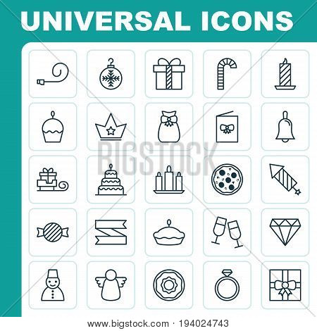 Happy Icons Set. Collection Of Toboggan, Present Pouch, Snow Person And Other Elements. Also Includes Symbols Such As Handbell, Meal, Celebrating.