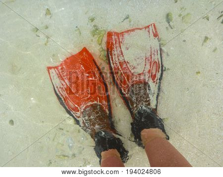 A pair of red flippers on sand