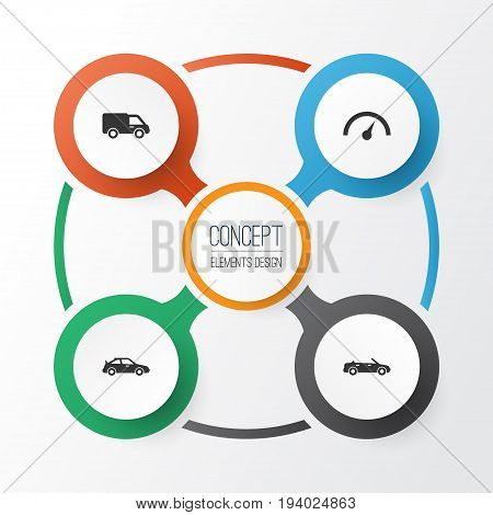 Automobile Icons Set. Collection Of Chronometer, Convertible Model, Crossover And Other Elements. Also Includes Symbols Such As Crossover, Automobile, Convertible.