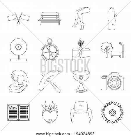 cooking, travel, medicine and other  icon in outline style.love, tradition, rest icons in set collection.