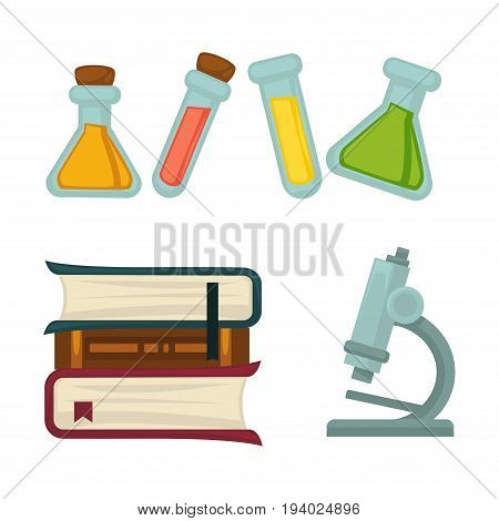 Science chemistry or biology flat icons. Vector isolated set of scientific books, chemical liquids or tests in beaker vials and laboratory research microscope equipment