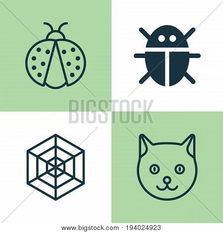 Zoo Icons Set. Collection Of Beetle, Cobweb, Kitten And Other Elements. Also Includes Symbols Such As Spider, Ladybird, Beetle.