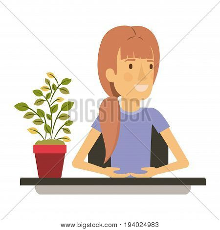 silhouette color closeup half body woman assistant in desk with ponytail hair vector illustration