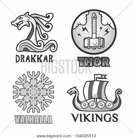 Viking warriors logo set. Vector isolated symbols of Thor hammer and Odin Valhalla runes, Drakkar dragon head on war ship vessel with swords of ancient mythology Swedish or Norse Scandinavian soldiers