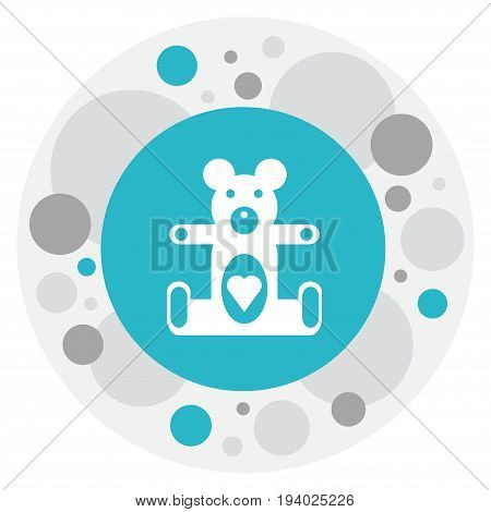 Vector Illustration Of Child Symbol On Teddy-Bear Icon. Premium Quality Isolated Plush Animal Element In Trendy Flat Style.