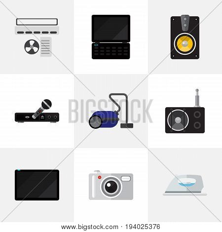 Set Of 9 Editable Home Icons. Includes Symbols Such As Microphone, Notebook, Appliance And More. Can Be Used For Web, Mobile, UI And Infographic Design.