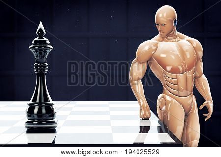 Conversation of the cyborg with the black king behind the chessboard. 3d rendering illustration