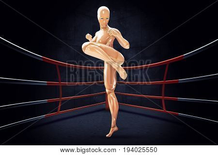 Cyborg woman shows a kung fu blow. 3d rendering illustration