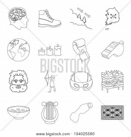 Sport, fitness, music and other  icon in outline style.Clothing, shopping, country icons in set collection.