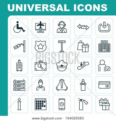 Travel Icons Set. Collection Of Globetrotter, Internet Ticket, Present And Other Elements. Also Includes Symbols Such As Video, Scanner, Surveillance.