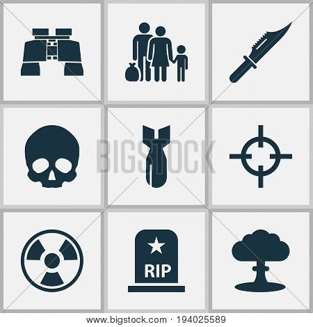 Warfare Icons Set. Collection Of Target, Fugitive, Atom And Other Elements. Also Includes Symbols Such As Rip, Bio, Shot.