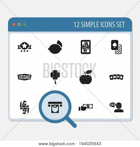 Set Of 12 Editable Business Icons. Includes Symbols Such As Royal, Dollar, Nevada And More. Can Be Used For Web, Mobile, UI And Infographic Design.