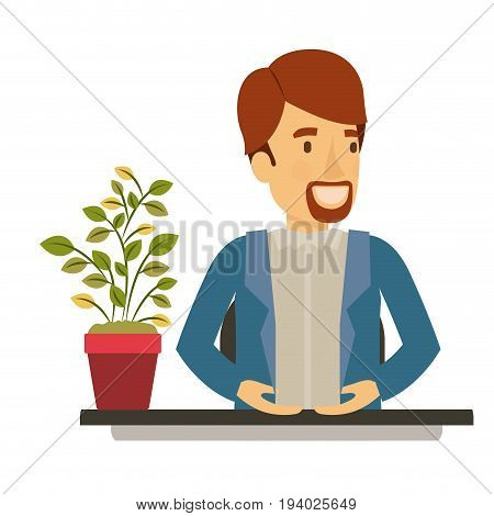 silhouette color closeup half body van dyke beard man assistant in desk in jacket vector illustration