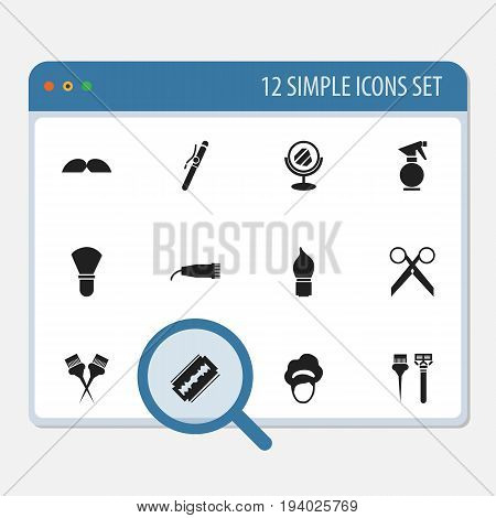 Set Of 12 Editable Hairstylist Icons. Includes Symbols Such As Instrument, Peeper, Equipments And More. Can Be Used For Web, Mobile, UI And Infographic Design.