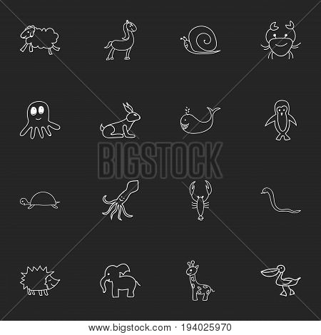 Set Of 16 Editable Animal Icons. Includes Symbols Such As Serpent, Ewe, Cancer And More. Can Be Used For Web, Mobile, UI And Infographic Design.