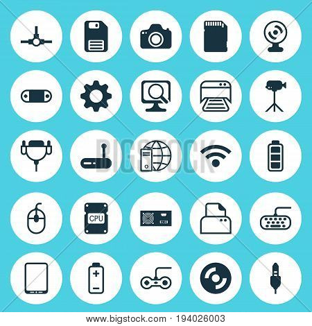 Hardware Icons Set. Collection Of Network Structure, Memory Card, Power Generator And Other Elements. Also Includes Symbols Such As Photocopy, Floppy, Keypad.