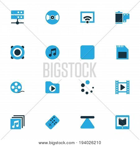 Media Colorful Icons Set. Collection Of Media Folder, Signal, Movie And Other Elements. Also Includes Symbols Such As Remote, Reader, Learning.