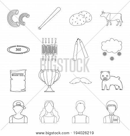 army, sport, technology and other  icon in outline style. weather, animal husbandry, television icons in set collection.