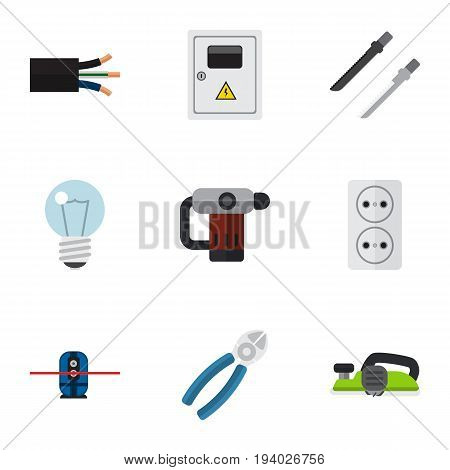 Set Of 9 Editable Electrical Icons. Includes Symbols Such As Fretsaw, Panel, Geodesist And More. Can Be Used For Web, Mobile, UI And Infographic Design.