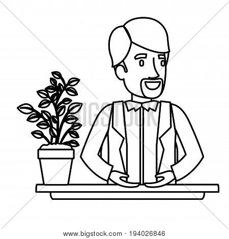 black silhouette closeup half body van dyke beard man assistant in desk in jacket vector illustration