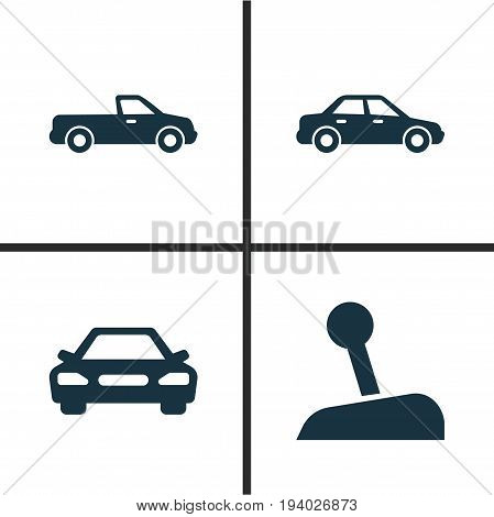 Car Icons Set. Collection Of Stick, Automobile, Carriage And Other Elements. Also Includes Symbols Such As Carriage, Automobile, Car.