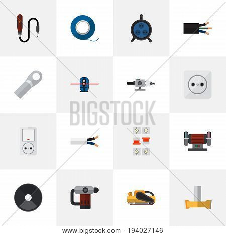 Set Of 16 Editable Instruments Icons. Includes Symbols Such As Cable, Receptacle, Connection And More. Can Be Used For Web, Mobile, UI And Infographic Design.
