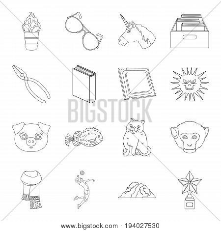 education, sport, medicine and other  icon in outline style.cooking, technology, library icons in set collection.