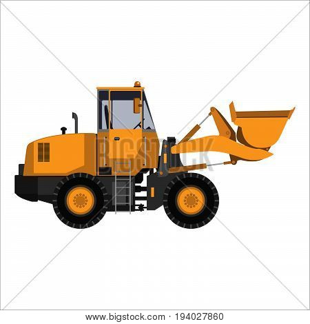 Powerful tractor grader with bucket. Isolated on a white background. Heavy industry engineering construction. Flat design. Vector illustration.
