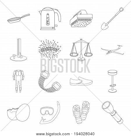 justice, sport, swimming and other  icon in outline style.game, transportation, travel icons in set collection.
