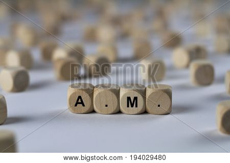 A.m. - Cube With Letters, Sign With Wooden Cubes