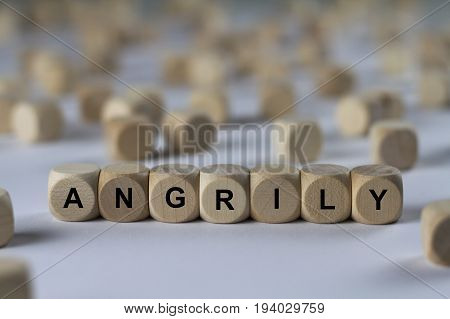 Angrily - Cube With Letters, Sign With Wooden Cubes