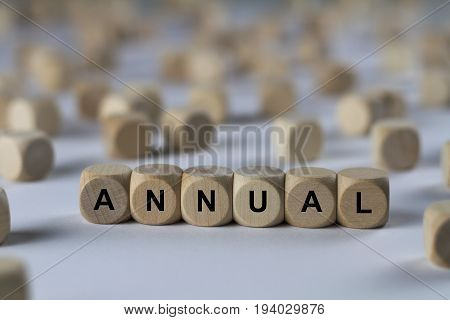 Annual - Cube With Letters, Sign With Wooden Cubes