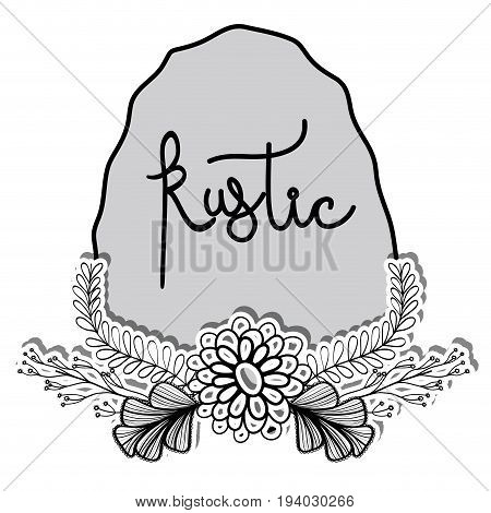 rustic emblem with branches with leaves and flowers vectoe illustration