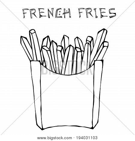 French Fries in Paper Box. Fried Potato Fast Food in a Package. Realistic Hand Drawn Doodle Style Sketch. Vector Illustration Isolated On a White Background.