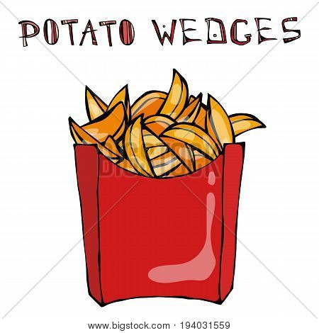 Potato Wedges in Paper Box. Fried Potato Fast Food in a Red Package. Realistic Hand Drawn Doodle Style Sketch. Vector Illustration Isolated On a White Background.